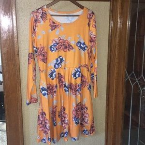 Pocketed Yellow Flower Dress